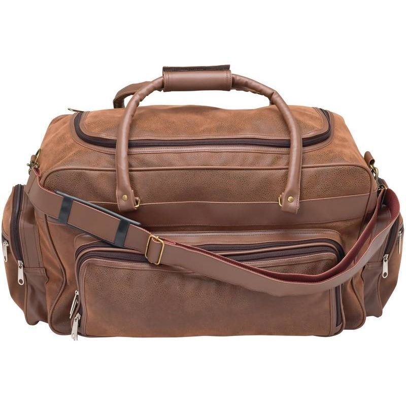 Womens 23 Faux Leather Duffle Bag, Brown Overnight Carry-on Luggage Suitcase
