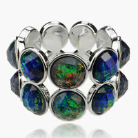 Round Metagalaxy Aurora Mystery Lucite Resin Stretch Bracelet