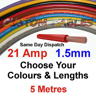 5m BLACK 21A 12v AUTO CABLE 21 AMP 1.5mm/sq CAR WIRING LOOM WIRE AUTOMOTIVE