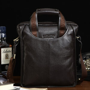 Mens-Genuine-Real-Leather-Handbag-Shoulder-Bag-Briefcase-Laptop-Casual-Purse