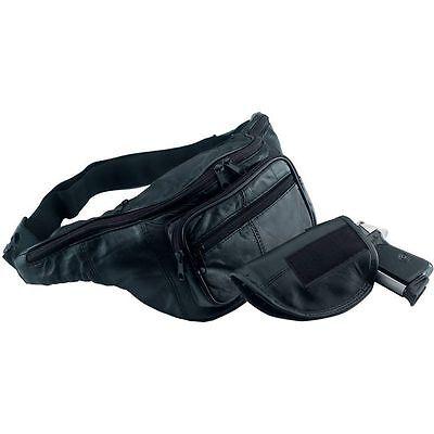 Black Leather Fanny Pack W/ Gun Holster, Men Or Women Waist Belt Bag Gun Holder