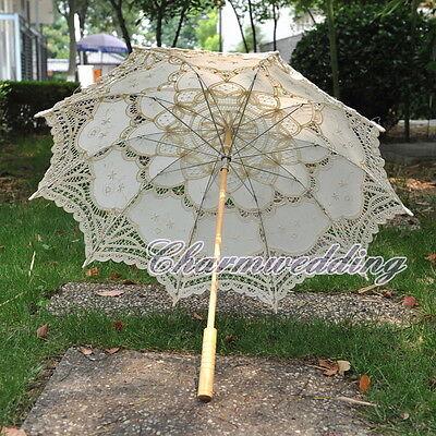 NEW Beige Cotton Vintage Lace Bridal Parasol Wedding Party Sun Umbrella Handmade