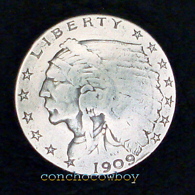 """ANTIQUE SILVER INDIAN HEAD REPRODUCTION COIN CONCHO 3/4"""" SCREW BACK"""