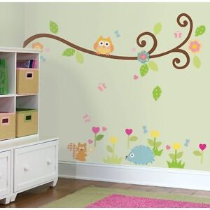 SCROLL-TREE-BRANCH-wall-stickers-65-big-decals-owl-leaves-flowers-nursery-decor