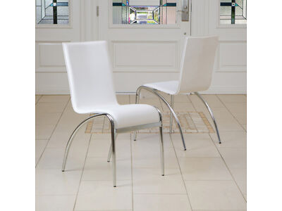 Set of 2 Modern Design Chrome Base White Accent Dining Chairs