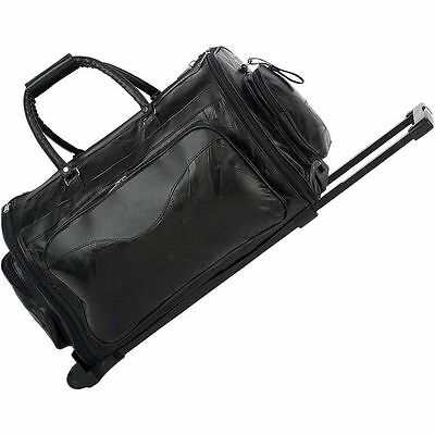 Leather 21\ Folding Trolley Duffle Bag, Rolling Carry On Luggage Tote Suitcase