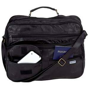 New-Mens-Black-Leather-Briefcase-Attache-Tote-Shoulder-Bag-Carry-On-Case-Satchel
