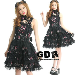 FreeShip-X-GOTHIC-PUNK-LOLITA-ALICE-61233-SHAPE-DRESS-NECKBAND-S-L