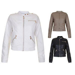 Womens Black Mocha Quilted Faux Leather Bomber Biker Off White Jacket Size 8 14 Ebay