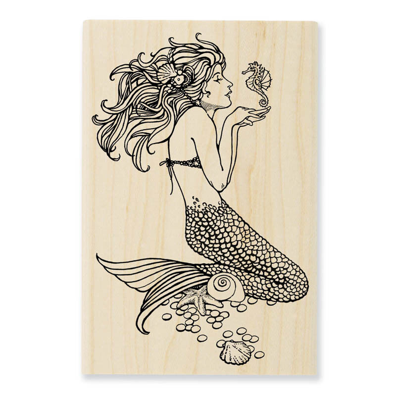 Mermaid with Seahorse Wood Mounted Rubber Stamp Stampendous NEW Craft Supplies