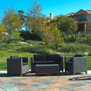 Outdoor Patio Furniture PE Wicker 4pcs Luxury Sofa Seating Set