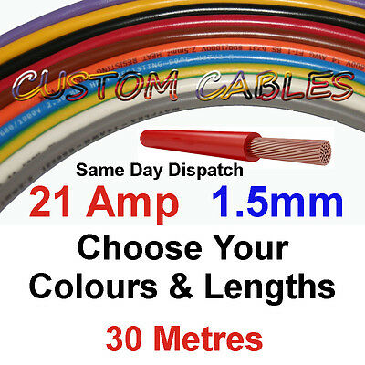 30m BROWN 21A 12v AUTO CABLE 21 AMP 1.5mm/sq CAR WIRING LOOM WIRE AUTOMOTIVE