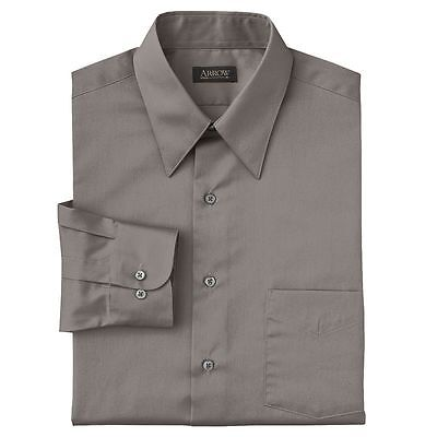 New Arrow Men's Sateen Point-Collar Dress Shirt Gray Wrinkle-Free Big & Tall