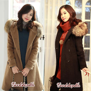 New-Womens-coat-Fur-collar-Woollen-Long-Warm-Winter-Black-Brown-Coat-S-M-L-XL