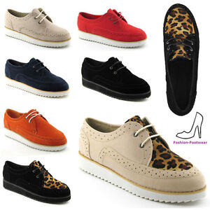 LADIES-LACE-UP-FAUX-SUEDE-PLATFORM-WOMENS-FLAT-GOTH-PUNK-WEDGE-CREEPERS-SHOES