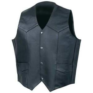 100-MONEY-BACK-Solid-Genuine-Cowhide-Leather-Vest-Motorcycle-Vests-Black-New
