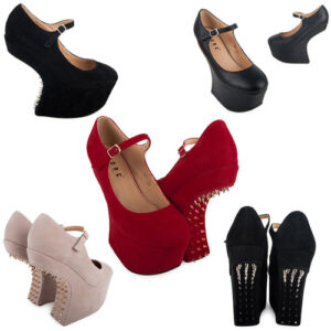44G-NEW-WOMENS-MARY-JANE-LADIES-SPIKEY-STUDDED-HEEL-LESS-WEDGE-SHOES-SIZE-3-8