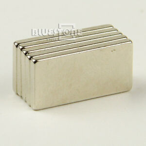 5 x Super Strong Block Cuboid Magnets Rare Earth Neodymium 20 x 10 x 2 mm N35
