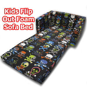 Skulls black kids children flip out sofa foam bed new ebay Toddler flip out sofa couch bed