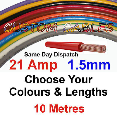 10m BLACK 21A 12v AUTO CABLE 21 AMP 1.5mm/sq CAR WIRING LOOM WIRE AUTOMOTIVE