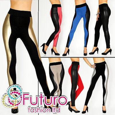 HIT ☼ Unique & Sexy Shiny Wet Look & Cotton Multicolour Full Length Leggings ☼LF