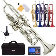 Mendini Bb Trumpet Gold Silver Black Blue Purple Red +Tuner+Case+CareKit