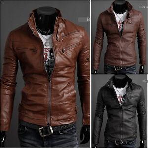 NEW-Mens-Punk-Bomber-Biker-Motorcycle-Slim-Fit-PU-Leather-Jacket-Blazer