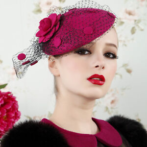 Womens-Vintage-Fascinator-Wool-Hair-Pillbox-Hat-Rose-Veil-Cocktail-Party-Wedding
