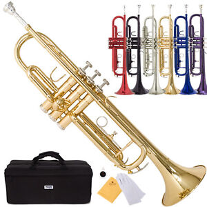 Mendini Bb Beginner Trumpet in Gold Silver Black Blue Purple or Red +Care Kit