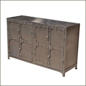 Industrial-Wrought-Iron-Metal-Dining-Room-Door-Buffet-Cabinet-Credenza-Sideboard