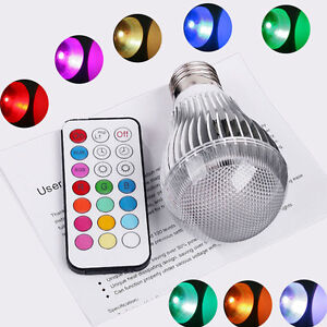 9W E27 LED RGB Light Colorful Bulb Lamp + Remote Control 2 Million Colors