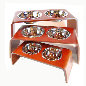 Bergan Elevated  Pet Dog Feeder Wood w/ Ergoflo Stainless Steel Bowls Medium New