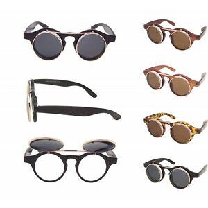 Steampunk goggles glasses retro flip up round sunglasses vtg lady gaga