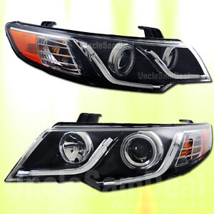 SUPER WHITE LED STRIP CCFL HALO CLEAR PROJECTOR HEADLIGHTS BLACK FOR FORTE KOUP