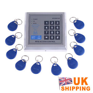 RFID Proximity Entry Door Lock Access Control System + 10 Key Fobs UK
