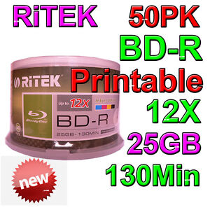 RITEK 50 Spindle Pack Printable Blu-ray Bluray 12X 25GB 130Min Blank Discs NEW