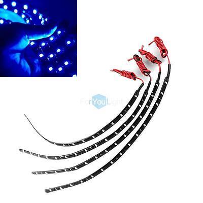 4PCS Led Lamp String Waterproof Flexible Car Strip Decoration Light 30CM Blue on Rummage