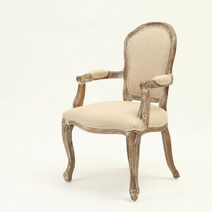 french vintage design linen upholstered weathered oak dining arm chair