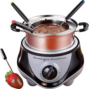 Electric-Stainless-Steel-Fondue-Pot-Set-Chocolate-Cheese-Warmer-w-Forks
