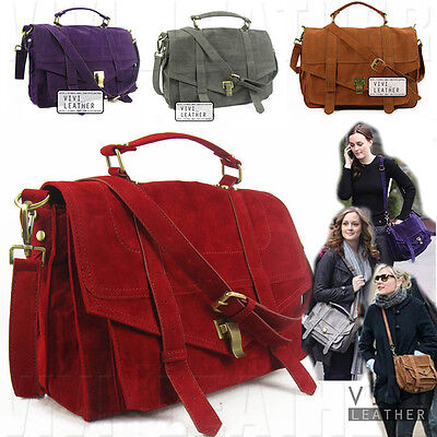 NEW Women's FAUX SUEDE LEATHER Satchel Handbag Cross-body ...
