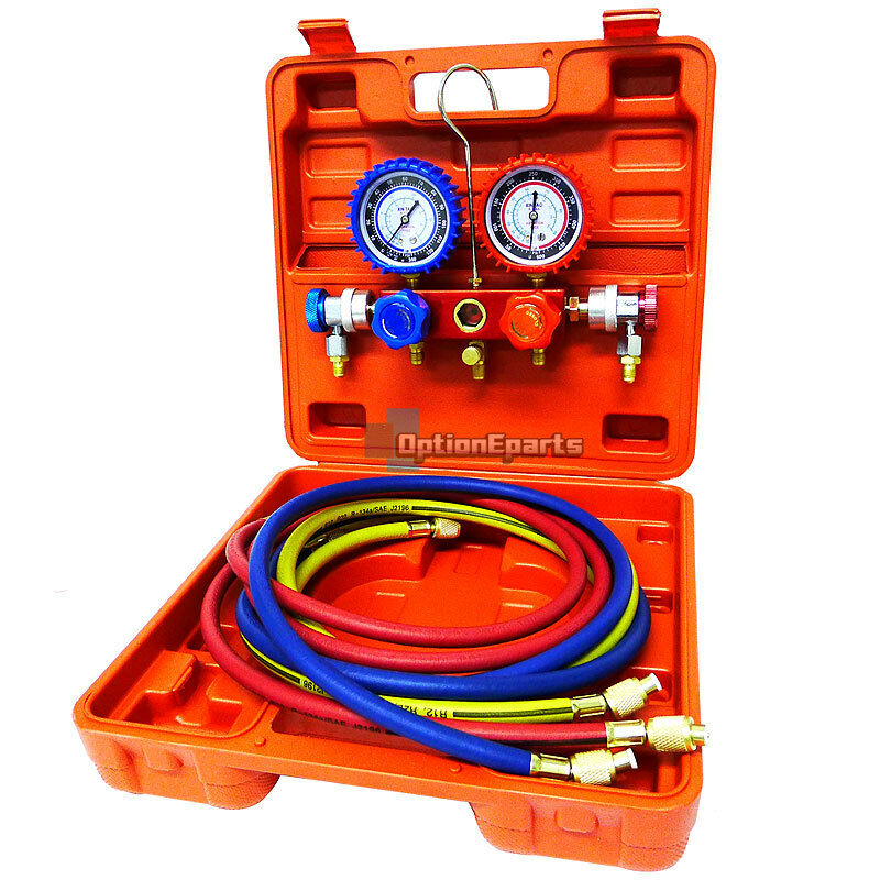 R134a A C Manifold Gauge Set w Hose Gauges Hi Lo Couplers Case Refrigeration