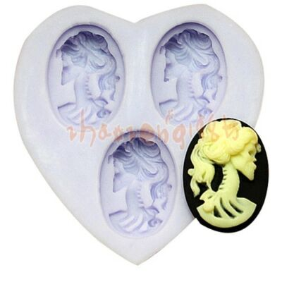 Lolita Skeleton 3 Cavities Cabochon Flexible Silicone Mold For Polymer Clay Fimo on Rummage