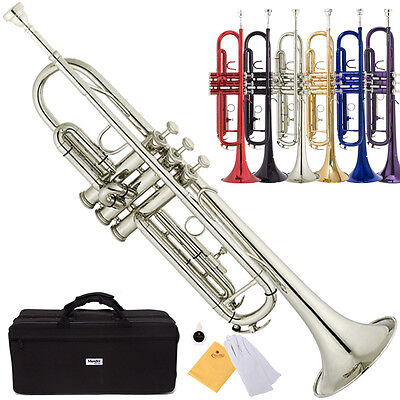 Mendini Bb Beginner Trumpet in Gold Silver Black Blue Purple Red +Care Kit+Case on Rummage