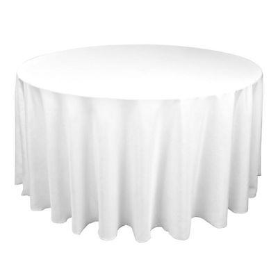 (10)-120 ROUND SEAMLESS PURE WHITE TABLECLOTHS~WEDDING~