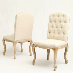 french vintage design weathered wood dining chairs w nailhead accents