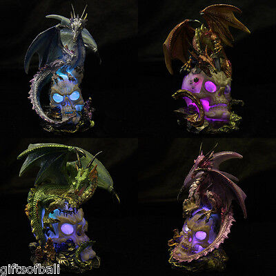 Collectable Fantasy Iridescent Dragon on LED Skull Ornament Statue Lamp