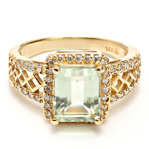 SIZE 9 NATURAL DIAMONDS GREEN AMETHYST SOLID GOLD RING 14K Estate Jewelry New