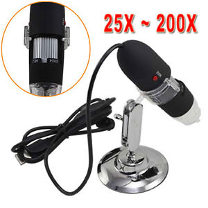 25X to 200x 8LED USB Digital Microscope Endoscope Video Magnifier Camera USB 2.0
