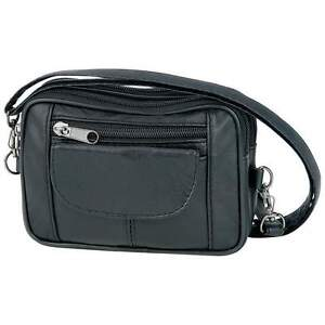 New Small Purse Black Leather Adjustable Cross Body Strap Bag Shoulder Handbag