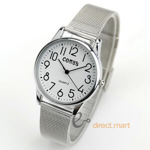 Luxury White Dial Silver S/Steel Band Easy Read Lady Casual Sport Quartz Watch